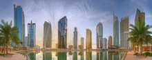 Panoramic View Of Business Bay And Lake Tower, Reflection In A River, UAE