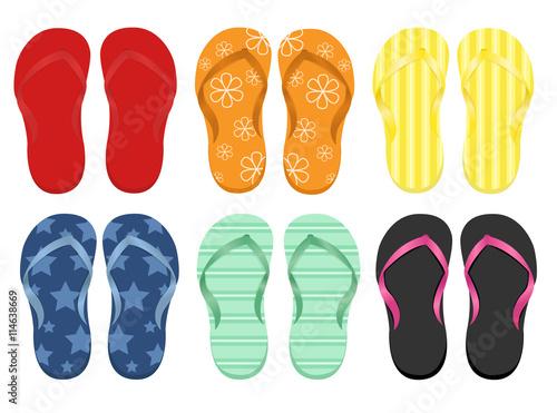 Six pairs of flip flops