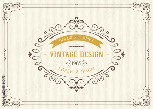Ornate Vintage Card Design With Ornamental Flourishes Frame Use For