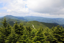 Mount Mitchell With A View Of The Blue Ridge Parkway Road