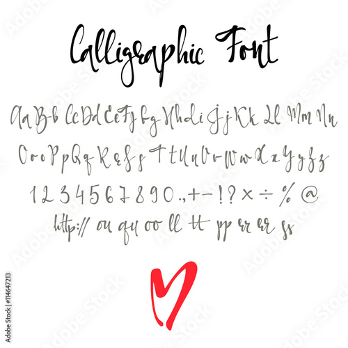 Fotografía  Calligraphic font with numbers, ampersand and symbols