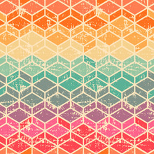 Vector Tetragonal Geometric Seamless Pattern With Grunge Texture