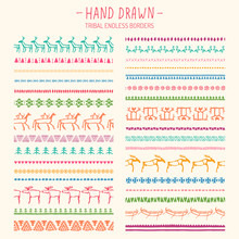 Hand Drawn Tribal Endless Borders.