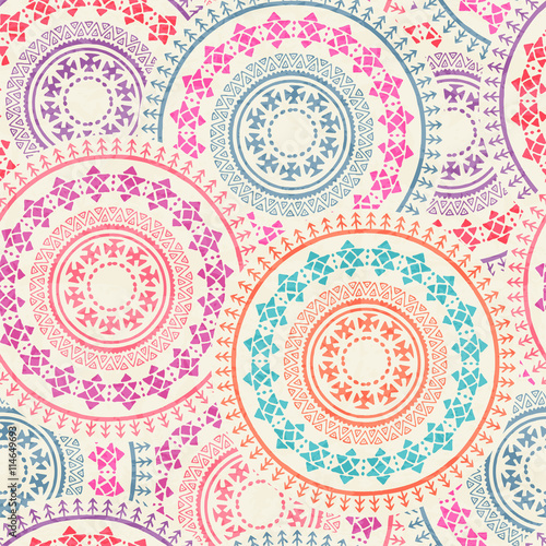 Cotton fabric Tribal seamless background with round geometric ornament