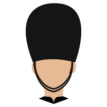 Avatar Human British Guard Front View Over Isolated Background, Vector Illustration