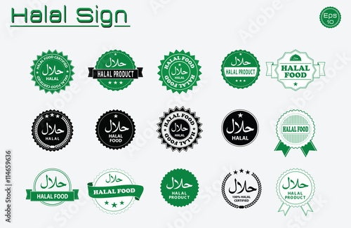 Halal Food Labels Vector Set  Badges  Logo  Tag Round  And