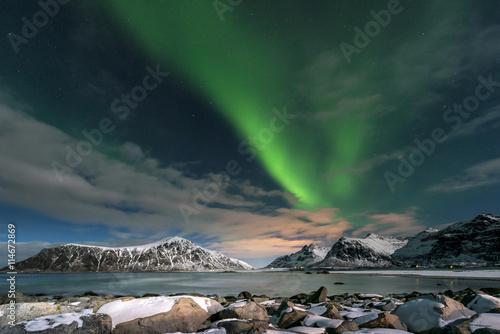 Aurora borealis over Skagsanden beach on Lofoten Islands, Poster