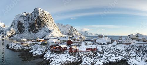 Papiers peints Scandinavie Panorama of Hamnoy island in winter time, Reine, Lofoten Islands