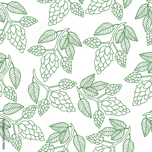 Hops Plant Seamless Pattern Hand Drawing Style Hops Background