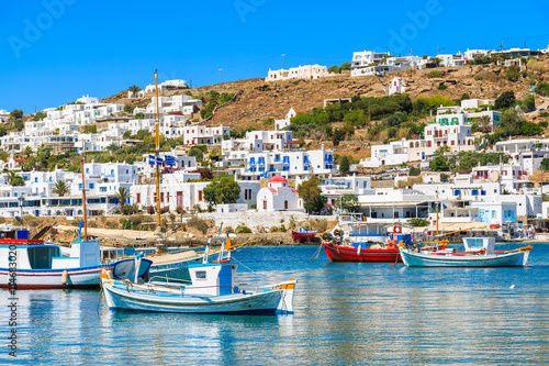 Printed kitchen splashbacks Athens A view of fishing boats in Mykonos port, Cyclades islands, Greece