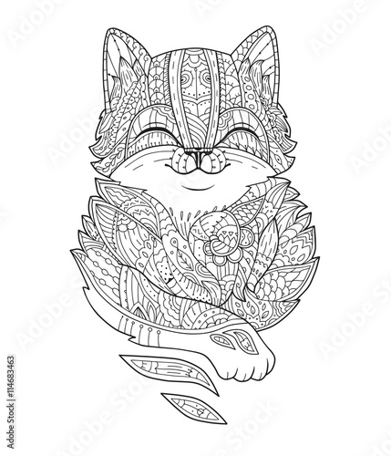 Zentangle Stylized Fat Cat Hand Drawn Fluffy Animal Zen Art For