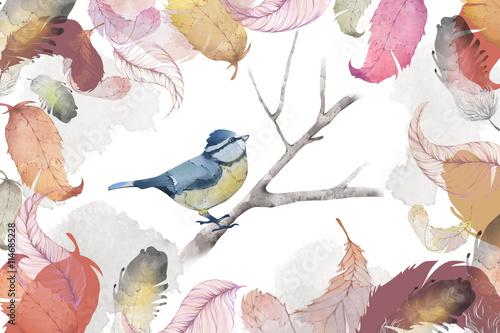 Kreatywna ilustracja i innowacyjna sztuka: ptak, pióro i liście, styl akwareli. Realistyczne zdjęcie sikorki.