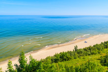 A View Of Sandy Beach From Cliff In Jastrzebia Gora Coastal Village, Baltic Sea, Poland