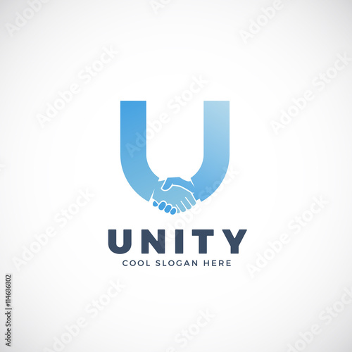 Unity Abstract Vector Sign Symbol Or Logo Template Hand Shake Incorporated In Letter U Concept Buy This Stock Vector And Explore Similar Vectors At Adobe Stock Adobe Stock