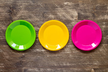 Green, Yellow And Pink Color Plates