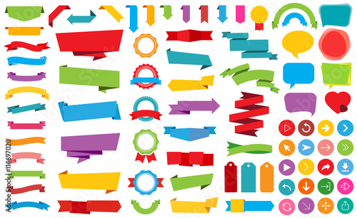 Slika na platnu Ribbon Labels Stickers Banners Vector