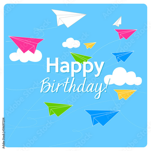 Happy Birthday Card With Colorful Origami Paper Planes Fly On A Blue