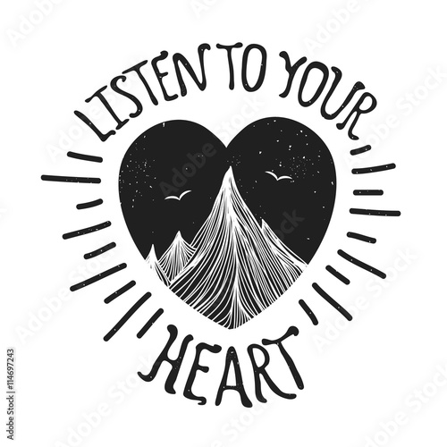 Vector illustration with mountains inside the heart Wallpaper Mural