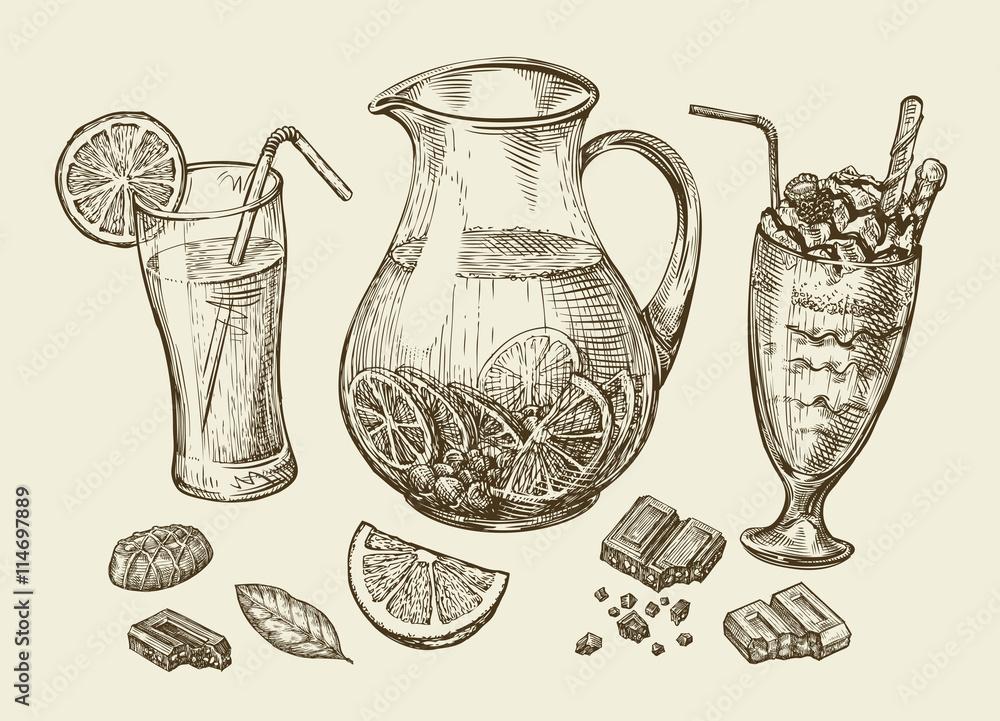 Fototapety, obrazy: Drinks. Hand drawn cocktail, smoothie, pitcher of lemonade, milkshakes, fruit juice, chocolate, dessert, beverage. Sketch vector illustration