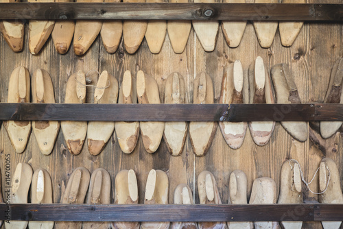 Shoe lasts in cobbler's workshop