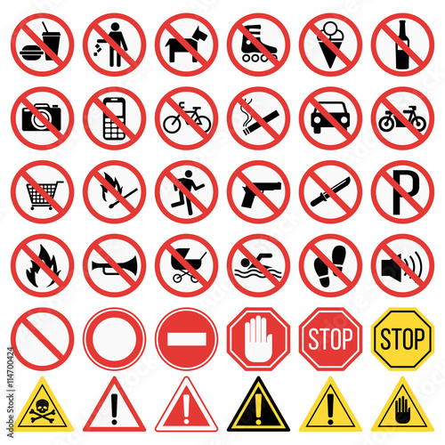 Fotografía  Prohibition signs set vector illustration