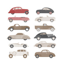 Retro Cars Icons Set Vintage Vector. Classic Transportation Auto Vehicle Retro Car. Retro Car Nostalgia Automobile Old Design. Graphic Emblem Race Engine Machine Shop Antique Wheels Set.