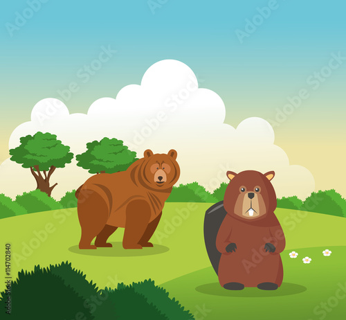 Deurstickers Pony Bear and beaver icon. Landscape background. Vector graphic