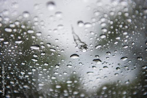 Staande foto Paardebloemen en water rain or water drops on a window glass