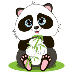 Obraz na SzkleVector image of an cartoon smiling Panda