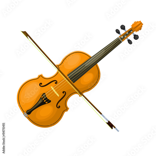 Musical instrument violin with a bow on a white background. Cart