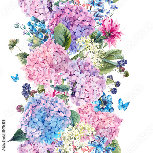 Leinwandbilder - Floral seamless border with Hydrangea