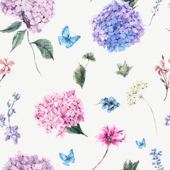 Fototapeta Inspiracje na wiosnę Floral seamless pattern with Blooming Hydrangea and garden flowe