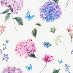 FototapetaFloral seamless pattern with Blooming Hydrangea and garden flowe