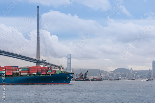 container ship arriving port of Hong Kong Poster