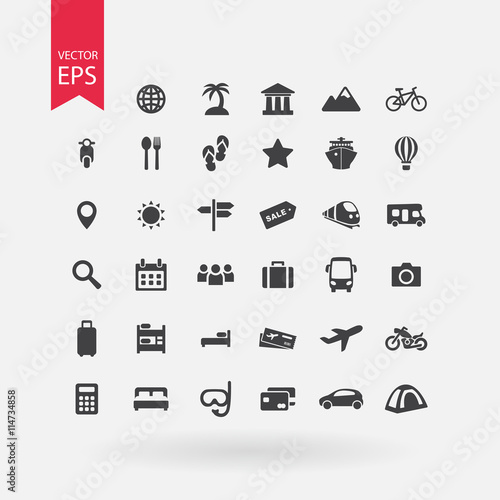 Travel Icons Set Tourism Signs Collection Vacation Symbols