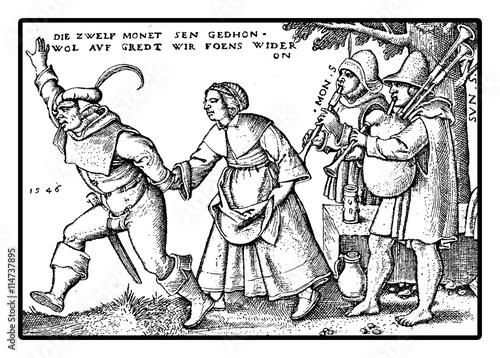 XVI century, peasants playing and dancing Poster Mural XXL