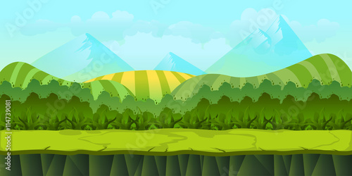 In de dag Lime groen Cute cartoon seamless landscape with separated layers, summer day illustration 1024x512