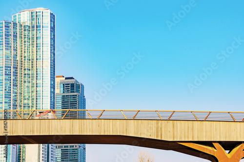 Bridge with buildings Poster