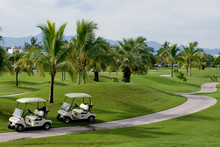 Two Golf Carts Along Side Of A Golf Course.