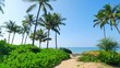 4K Palm Trees flanking Beach Path to Ocean, Island Travel Landsacpe