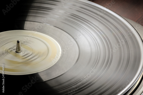 Vinyl LP on a turntable. Canvas Print