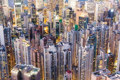 Hong Kong building at night Poster