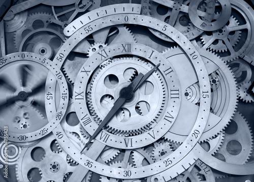 Obraz na płótnie Rotating clock, close-up