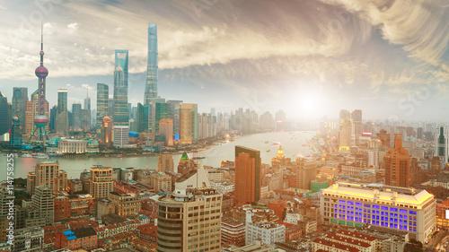 Spoed Foto op Canvas Dubai Aerial photography at Shanghai bund Skyline of sunrise