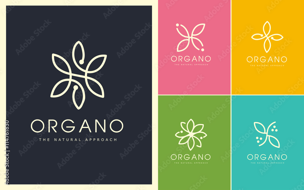 Fototapety, obrazy: Organic Vector Logo Set. Linear and Natural Emblem Design. Cosmetic, Beauty, Spa, Leaf, Ecology, Monogram made with leafs.