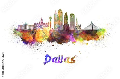 Fotografia  Dallas skyline in watercolor