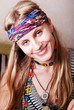 Portrait of a happy hippie girl.