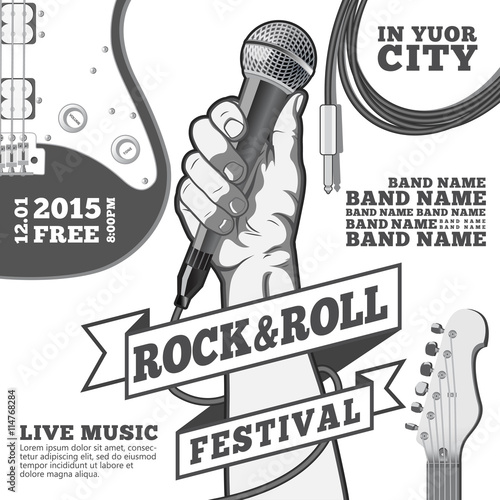 Rock and roll festival concept poster. Hand holding a microphone in a fist. Black and white illustration . mixed media © Vector_Vision