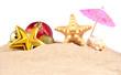 Christmas decorations seashells and starfish on a beach sand on