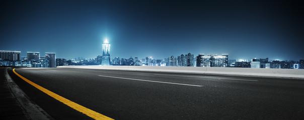 empty street with modern bu...
